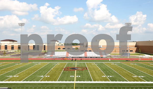 Kyle Bursaw – kbursaw@daily-chronicle.com<br /> <br /> A view of the turf football field at the new DeKalb High School, taken on Friday, July 29, 2011.