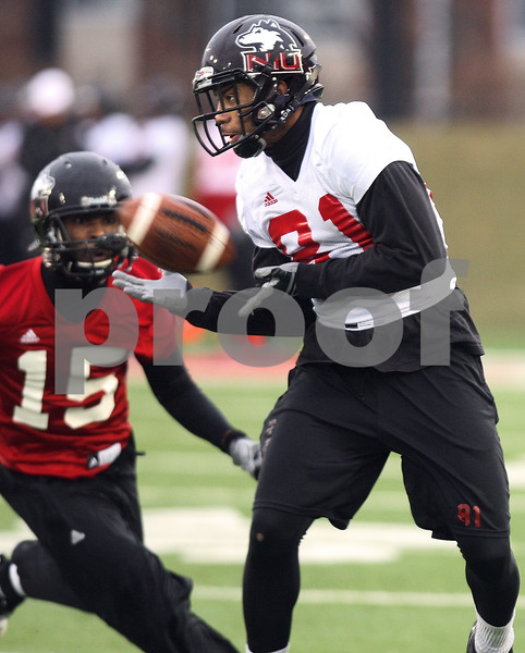 Kyle Bursaw – kbursaw@daily-chronicle.com<br /> <br /> Wide Receiver Nathan Palmer (81) hauls in a pass during practice at Huskie Stadium on Tuesday, March 22, 2011.