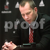 Kyle Bursaw – kbursaw@daily-chronicle.com<br /> <br /> Northern Illinois Football Head Coach Dave Doren fields questions via telephone from journalists who couldn't make it to the event because of the snow storm on Wednesday, Feb. 2, 2011.