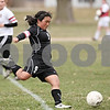 Rob Winner – rwinner@daily-chronicle.com<br /> <br /> Kaneland's Katie Taylor (9) kicks a ball toward the Indian Creek goal during the first half on Monday, April 4, 2011, in Waterman, Ill. Kaneland defeated Indian Creek, 5-0.