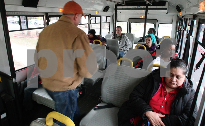 Kyle Bursaw – kbursaw@daily-chronicle.com<br /> <br /> A rider looks for a seat on the TransVAC green line on the afternoon of Thursday, March 17, 2011.
