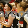 Rob Winner – rwinner@shawmedia.com<br /> <br /> Northern Illinois guard Courtney Shelton encourages her teammates on the court during  a practice held Monday, Nov. 7, 2011, in DeKalb, Ill.
