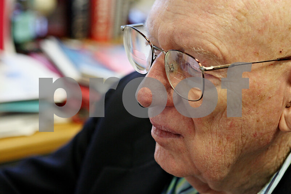 Rob Winner – rwinner@shawmedia.com<br /> <br /> Northern Illinois University professor Clyde Kimball works from his office at the university in DeKalb on Friday afternoon.