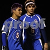 Rob Winner – rwinner@shawmedia.com<br /> <br /> After receiving a yellow card, Genoa-Kingston's Adrian Tijerna (5) leaves the field ahead of teammate Jake Zerin (6) during the second half in Hinckley on Tuesday, October 18, 2011. Hinckley-Big Rock defeated Genoa Kingston, 3-2, during the Class 1A Hinckley-Big Rock Sectional semifinal.