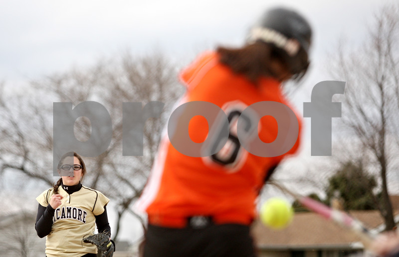 Rob Winner – rwinner@daily-chronicle.com<br /> <br /> Sycamore pitcher Abby Foulk (left) strikes out DeKalb's Dani Thibault during the first inning on Tuesday, April 5, 2011, in DeKalb, Ill. DeKalb defeated Sycamore, 4-3.