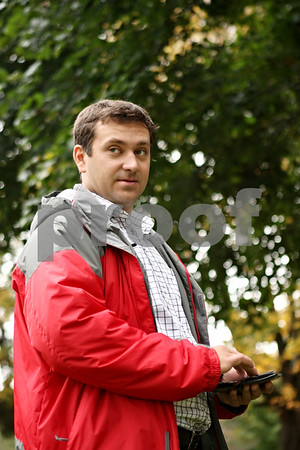 Rob Winner – rwinner@shawmedia.com<br /> <br /> Vyacheslav Gusyev, from Ukraine, stands outside the DeKalb County Municipal Building on Thursday, Oct. 13, 2011. Gusyev has been taking part in the Legislative Fellowship Program which will finish today.<br /> <br /> ***today, as in Monday Oct. 17 - Rob