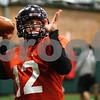 Kyle Bursaw – kbursaw@shawmedia.com<br /> <br /> Northern Illinois quarterback Chandler Harnish throws a pass during practice at the DeKalb Recreation Center on Wednesday, Dec. 14, 2011.