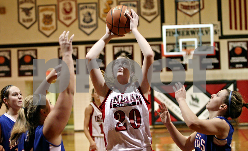 Rob Winner – rwinner@daily-chronicle.com<br /> <br /> Indian Creek's Kate Thuestad takes a shot during the second quarter in Shabbona, Ill. on Monday, January 10, 2011.