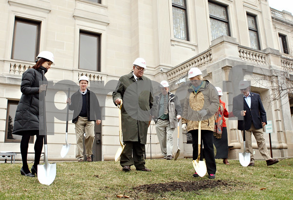 Rob Winner – rwinner@daily-chronicle.com<br /> <br /> DeKalb county officials prepare to break ground as a ceremony for the DeKalb County Courthouse was held on Monday morning in Sycamore.