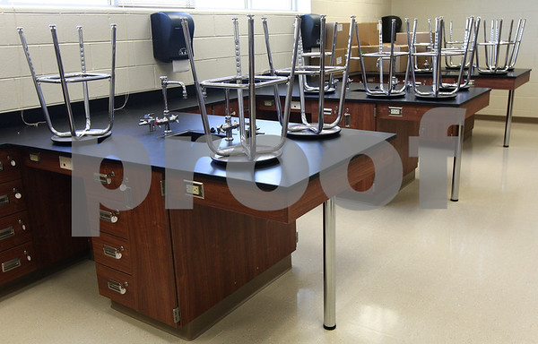 Kyle Bursaw – kbursaw@daily-chronicle.com<br /> <br /> Science classrooms will each have enough lab stations for 24 students at the new DeKalb High School.<br /> <br /> Friday, July 29, 2011.