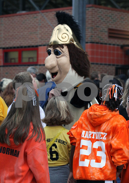 Wendy Kemp - For The Daily Chronicle<br /> The Sycamore Spartan greets fans before Friday's football game at Huskie Stadium.<br /> DeKalb 9/9/11