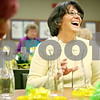 "Rob Winner – rwinner@daily-chronicle.com<br /> <br /> Jodi Tyrrell, of Sycamore, shares a laugh with fellow volunteers while making flower bunches during the American Cancer Society Daffodil Days program at the Kishwaukee Community Hospital in DeKalb on Monday morning. Tyrrell, who is a cancer survivor said, ""It's a great group of people to work with. It's just part of the whole healing process."""