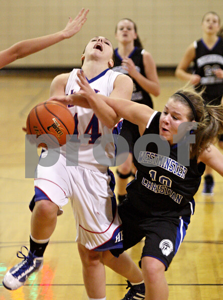 Rob Winner – rwinner@shawmedia.com<br /> <br /> Hinckley-Big Rock's Kaitlin Phillips (14) is fouled by Westminster Christian guard Whitney Vanden Bos (10) during the second quarter in Somonauk on Thursday night.