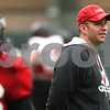 Kyle Bursaw – kbursaw@shawmedia.com<br /> <br /> Northern Illinois University head coach Dave Doeren watches over practice at the DeKalb Recreation Center on Wednesday, Dec. 14, 2011.