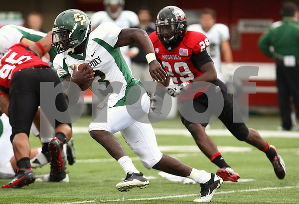 Kyle Bursaw – kbursaw@shawmedia.com<br /> <br /> Cal Poly quarterback Andre Broadous runs during the third quarter of the game against Northern Illinois at Huskie Stadium in DeKalb, Ill. on Saturday, Sept. 24, 2011.