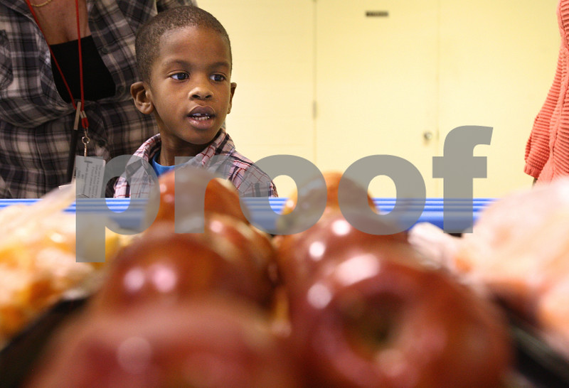 Kyle Bursaw – kbursaw@daily-chronicle.com<br /> <br /> Demarrion Scott, a kindergarten student at Tyler elementary, looks over the options at the school's fruit and vegetable cart on Wednesday, April 20, 2011, it was the first day the cart was available to students.
