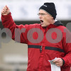 Kyle Bursaw – kbursaw@daily-chronicle.com<br /> <br /> Defensive coordinator Jay Niemann calls out to players during practice at Huskie Stadium on Tuesday, March 22, 2011.