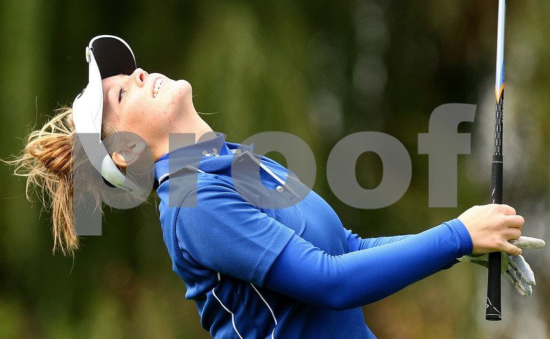Kyle Bursaw – kbursaw@shawmedia.com<br /> <br /> Hinckley-Big Rock's Brittany Herrmann reacts to a shot that got away from her on the front nine at the Little 10 golf meet at Hughes Creek Golf Club in Elburn, Ill. on Wednesday, Sept. 28, 2011.