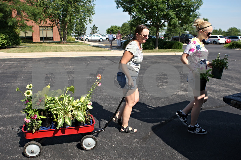 Rob Winner – rwinner@daily-chronicle.com<br /> <br /> Donna Stanley (left) and her daughter, Savannah Stanley, prepare to load their vehicle with plants purchased outside the DeKalb County Farm Bureau in Sycamore as the University of Illinois Extension Master Gardeners held their fourth annual garden walk and plant sale on Saturday.