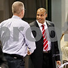 Rob Winner – rwinner@daily-chronicle.com<br /> <br /> NIU basketball coach Mark Montgomery meets with guests at the Convocation Center in DeKalb on Monday afternoon.