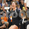 Rob Winner – rwinner@shawmedia.com<br /> <br /> DeKalb's Emily Bemis (15) celebrates after a kill to end the first game on Wednesday, Oct. 5, 2011. DeKalb defeated Sycamore, 28-26 and 25-19.
