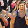 Kyle Bursaw – kbursaw@shawmedia.com<br /> <br /> DeKalb coach Stephanie Gooden calls out to her players between points during their game at Sycamore High School on Tuesday, Sept. 13, 2011.