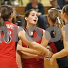 Rob Winner – rwinner@shawmedia.com<br /> <br /> Indian Creek's Sarah Schilling (center) is encouraged by her teammates during the second game while hosting Serena in Shabbona on Thursday, Sept. 22, 2011. Indian Creek was defeated by Serena, 25-22, 10-25, and 25-22.