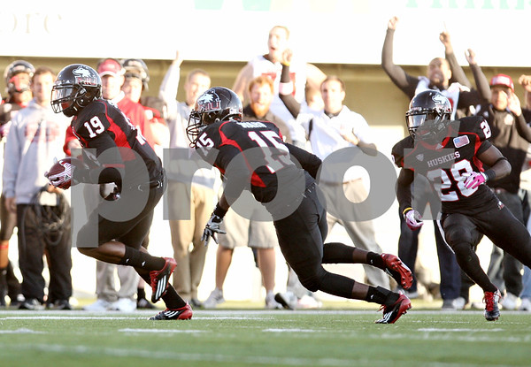 Rob Winner – rwinner@shawmedia.com<br /> <br /> Northern Illinois safety Demetrius Stone (19) intercepts a pass and returns it for 29 yards during the third quarter in DeKalb, Ill., on Saturday, Oct. 15, 2011. Northern Illinois defeated Western Michigan, 51-22.