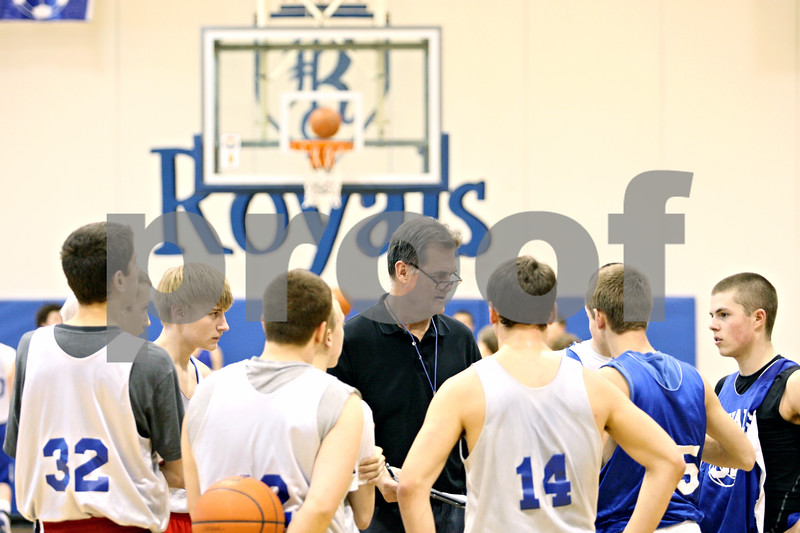 Rob Winner – rwinner@daily-chronicle.com<br /> <br /> Head coach Bill Sambrookes gathers his team during practice in Hinckley, Ill. on Wednesday, Jan. 26, 2011.