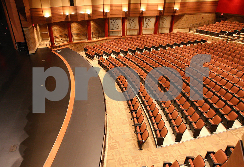 Kyle Bursaw – kbursaw@daily-chronicle.com<br /> <br /> The auditorium of the new DeKalb High School has an orchestra pit (covered in this image) at the front of the stage.<br /> Taken on Friday, July 29, 2011.