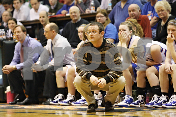 Rob Winner – rwinner@daily-chronicle.com<br /> <br /> Hinckley-Big Rock coach Greg Burks watches the final moments of the third quarter during the IHSA Class 1A DeKalb Super-Sectional on Monday February 21, 2011 in DeKalb, Ill.