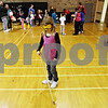 Rob Winner – rwinner@daily-chronicle.com<br /> <br /> Allison Spotts, 8, of Cortland, uses a walking cane and a blindfold to experience how it is to walk while blind during the fourth annual DeKalb School District Family Wellness Fair at DeKalb High School on Thursday night.