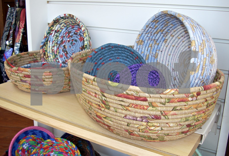 Found It, a store that opened recently in Genoa, offers unique gifts made by Northern Illinois artists. Pictured are handmade baskets woven from fabric. <br /> <br /> By Nicole Weskerna - nweskerna@shawmedia.com