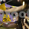 Kyle Bursaw – kbursaw@shawmedia.com<br /> <br /> Sycamore senior Maddie Wrenn cheers with the Spartan's student section before the annual DeKalb-Sycamore football game at Huskie Stadium on Friday, Sept. 7, 2012.