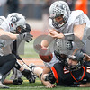 Sean King for the Chronicle<br /> <br /> Kaneland's Bradley Johnson (79) recovers a fumble during a Class 5A playoff game in New Lenox, Ill., on Saturday, Nov. 3, 2012. Lincoln-Way West defeated Kaneland, 31-15.