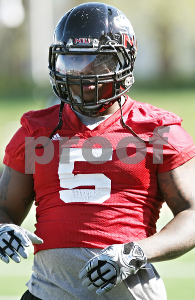 Rob Winner – rwinner@shawmedia.com<br /> <br /> Jamal Womble during the Northern Illinois football team's first practice of the spring Wednesday, March 28, in DeKalb, Ill.
