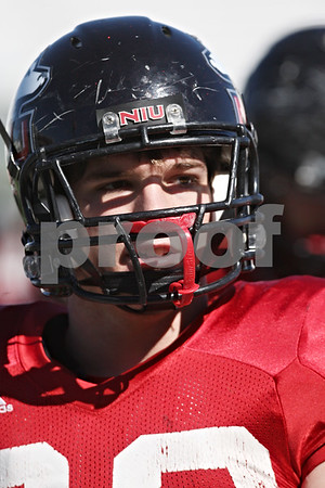 Rob Winner – rwinner@shawmedia.com<br /> <br /> Northern Illinois tight end Luke Eakes during practice at Huskie Stadium in DeKalb Friday, April 6, 2012.
