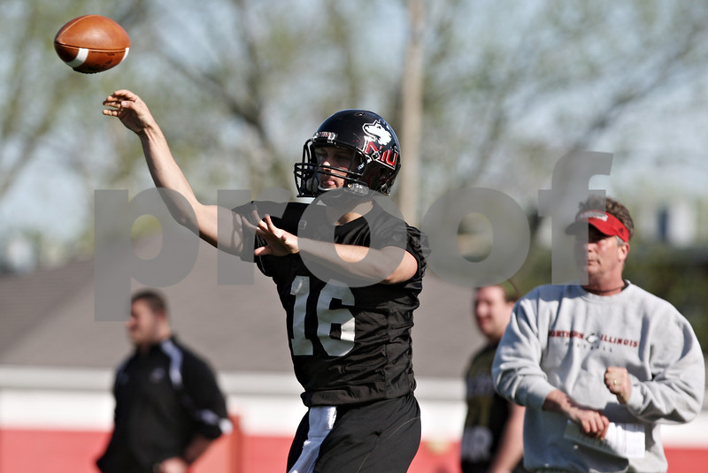 Rob Winner – rwinner@shawmedia.com<br /> <br /> Matt McIntosh during the Northern Illinois football team's first practice of the spring Wednesday, March 28, in DeKalb, Ill.