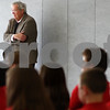Kyle Bursaw – kbursaw@shawmedia.com<br /> <br /> Former U.S. Speaker of the House Dennis Hastert waits on the side as he is  formally introduced to students at St. Mary School in DeKalb, Ill. on Thursday, March 22, 2012.