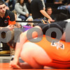 Kyle Bursaw – kbursaw@shawmedia.com<br /> <br /> DeKalb wrestling coach Mike Pater looks to the scoreboard as DeKalb's Michael Halverson finds himself underneath Kaneland's Zach Theis in their 285-pound semifinal match at the IHSA DeKalb AA Regional on Saturday, Feb. 4, 2012.