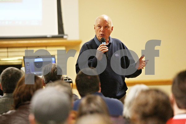 Rob Winner – rwinner@shawmedia.com<br /> <br /> Keynote speaker Dr. Story Musgrave speaks to guests during the third annual Northern Illinois University Graduate Student Research Conference Saturday afternoon in DeKalb. Musgrave is a retired NASA astronaut who completed six shuttle missions.