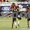 Rob Winner – rwinner@shawmedia.com<br /> <br /> Northern Illinois defensive back Jimmie Ward (15) intercepts a pass intended for Ohio wide receiver LaVon Brazill (7) in the fourth quarter during the Mid-American Conference championship game in Detroit, Mich., on Friday, Dec. 2, 2011. NIU defeated Ohio, 23-20.