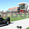 Kyle Bursaw – kbursaw@shawmedia.com<br /> <br /> Former Northern Illinois linebacker Jordan Delegal stretches out before the 40-yard dash at Huskie Stadium during the NIU Pro Day on Friday, March 9, 2012.