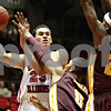 Rob Winner – rwinner@shawmedia.com<br /> <br /> Northern Illinois' Abdel Nader (23) looks to pass while being pressured by Central Michigan defenders Trey Zeigler (0) and Derek Jackson (23) during the first half in DeKalb on Saturday afternoon.