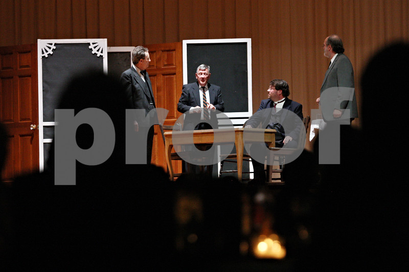 """Rob Winner – rwinner@shawmedia.com<br /> <br /> Guests of the DeKalb County Farm Bureau's 100th anniversary celebration watch a play titled, """"The Dawn of Progress,"""" Saturday at Altgeld Hall on the campus of Northern Illinois University in DeKalb.The play put on by the Stage Coach Players was a reenactment of how the bureau came to be."""
