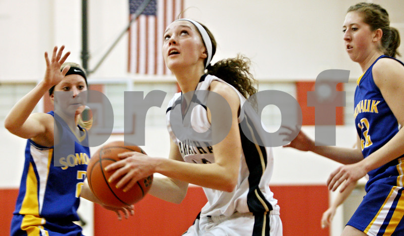 Rob Winner – rwinner@daily-chronicle.com<br /> <br /> Hiawatha's Dani Clark looks to shoot in the second quarter during the Little Ten Conference Tournament in Earlville on Tuesday night.