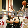 Rob Winner – rwinner@shawmedia.com<br /> <br /> Indian Creek's Jacob Bjorneby puts up two with a jump shot during the second quarter in Shabbona on Tuesday night.