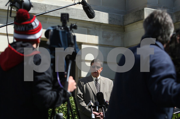 Kyle Bursaw – kbursaw@shawmedia.com<br /> <br /> Following the not guilty verdict in trial of Jack McCullough for the alleged 1962 rape of his half-sister Jeanne Tessier, Charles Ridulph addresses the media outside the DeKalb County Courthouse in Sycamore on Thursday, April 12, 2012. McCullough faces separate charges for the 1957 kidnapping and killing of Maria Ridulph, Charles' younger sister.