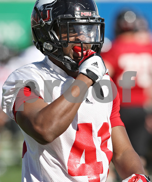 Rob Winner – rwinner@shawmedia.com<br /> <br /> Nate McNeal during the Northern Illinois football team's first practice of the spring Wednesday, March 28, in DeKalb, Ill.