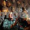 Kyle Bursaw – kbursaw@shawmedia.com<br /> <br /> Dr. Leonard Kouba, a retired Northern Illinois geography professor, has traveled all over the world hunting and fishing and setting records along the way. Kouba is pictured in one of the rooms in his Sycamore home that has a collection of African masks on it on Wednesday, March 7, 2012.